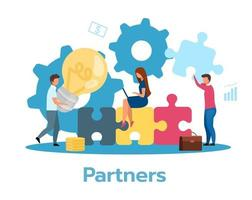 Partners flat vector illustration. Partnership concept. Cooperation, communication. Teamwork metaphor. Team brainstorming, searching idea, solution. Business model. Isolated cartoon character on white