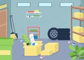 Ilustración de vector de color plano de basura de garaje