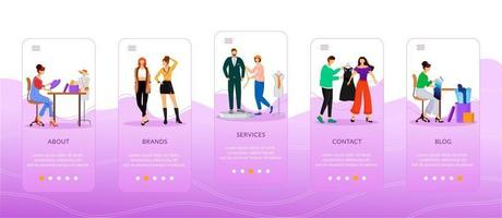 Designers work onboarding mobile app screen flat vector template. Fashion services, blogs, brands. Walkthrough website steps with characters. UX, UI, GUI smartphone cartoon interface, case prints set