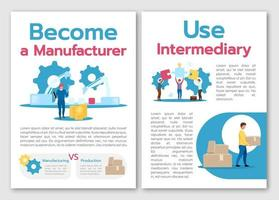 Become manufacturer brochure template. Use intermediary. Flyer, booklet, leaflet concept with flat illustrations. Vector page cartoon layout for magazine. advertising invitation with text space
