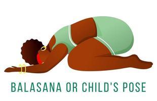 Balasana flat vector illustration. Child's pose