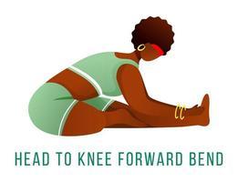 Head to knee forward bend flat vector illustration. Janu Sirsasana.
