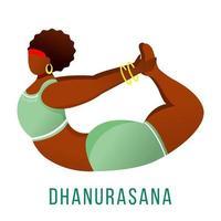 Dhanurasana flat vector illustration. Bow pose. African American