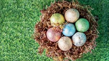 Easter eggs in a natural nest with moss on a green background with grass texture photo