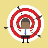 African businessman on archery targets. vector