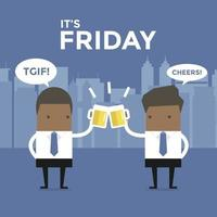 It's Friday African businessman to toast with beer. vector