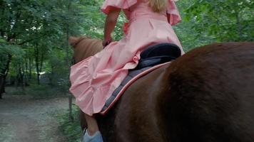 garota de capacete cavalga um cavalo marrom video