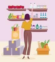 grocery shop woman vector