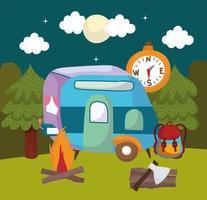 camping camper night vector