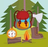 camping equipment cartoon vector