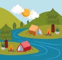 camping tents river vector