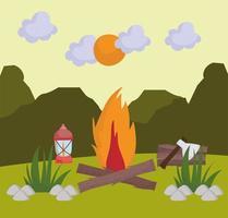 camping bonfire lamp vector