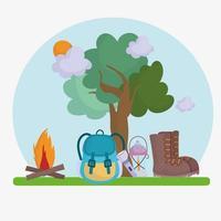 camping campfire equipment vector