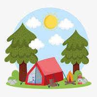camping trees tent vector
