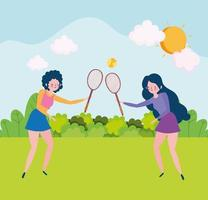 girls playing with rackets vector