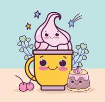 cute jelly cup vector