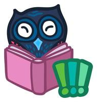 lindo pájaro libro de lectura aislado en blanco vector