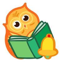 lindo búho leer libro. pegatina de regreso a la escuela vector