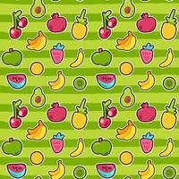Sweet berries and fruits vector seamless pattern