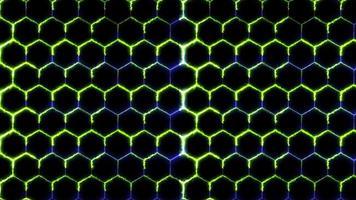 hexágono e laser azul de energia verde, padrão de energia de fio video