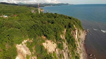 Wooded Coastal Cliff and Sea video