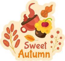 Sweet autumn label isolated. Cute seasonal sticker vector