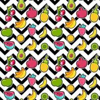 Painted Berries Summer Fruits Mix Seamless Pattern vector