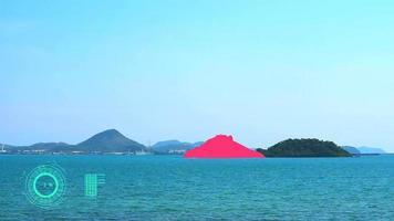 AI radar scanning and analyzing the island video