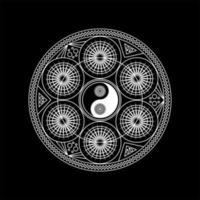 Mandala Pattern with Yin Yang Sign Outline vector