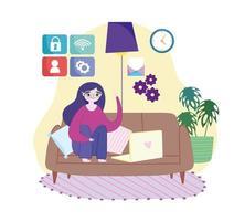 woman remote work vector