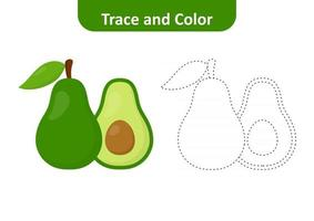Trace and color, coloring pages for kids, avocado vector