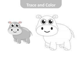 traza y color, páginas para colorear para niños, vector de hipopótamo