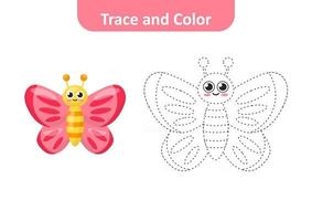 Trace and color, coloring pages for kids, butterfly vector