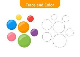 Trace and color, coloring pages for kids, circle vector