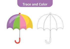 Trace and color, coloring pages for kids, umbrella vector