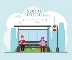 social distancing stop bus vector