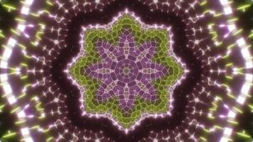 lazo de caleidoscopio de luz de color verde y rosa parpadeante video