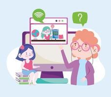enseñanza de la educación en línea vector