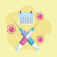 calendario de jeringas de vacunación vector