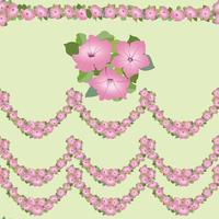 Flower garland seamless pattern.  Floral bouquet border frame. Flourish greeting card design. Blooming meagow white flowers isolated on light green summer background vector