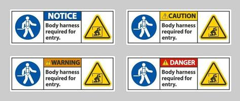 Body Harness Required For Entry Sign vector