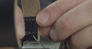 The Process Of Making A Leather Strap Handmade video