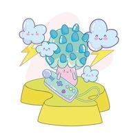 cute mushroom videogame vector