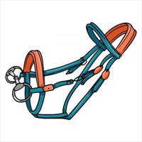 Horse harness bridle for riding vector illustration in cartoon style