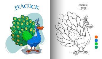 Carácter animal divertido pavo real en estilo de dibujos animados página de libro para colorear vector