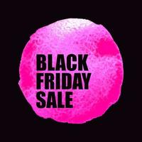 Vector illustration of Black Friday Sale banner with pink watercolor spot on dark background. Inscription design template.