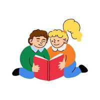 Vector colorful illustration of a little boy and girl reads a book isolated on white background
