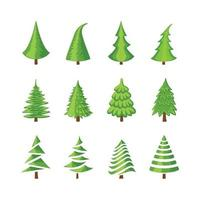 Vector colorful illustration set of a Christmas tree icons isolated on white background. Can be used for greeting card, invitation, banner, web design.