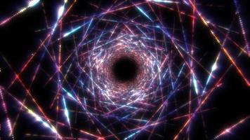 túnel cibernético de movimento de partículas brilhantes coloridas video