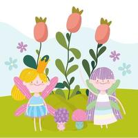 fairies flowers sprout vector